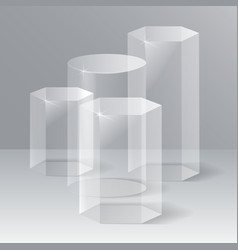Showroom podiums crystal pedestals vector