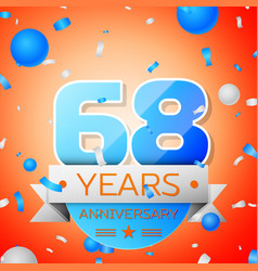 sixty eight years anniversary celebration vector image