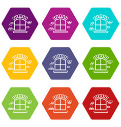 Small window frame icons set 9 vector