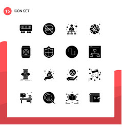 Solid glyph pack 16 universal symbols of vector