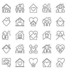 Stay home outline icons set house with vector