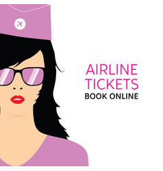 stewardess black in violet uniforms with booking vector image