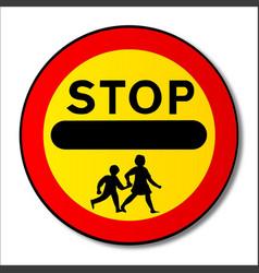 Stop children traffic sign vector