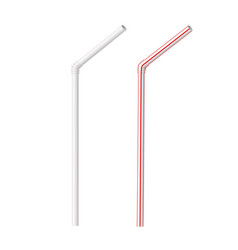 striped red white and blank plastic straw vector image
