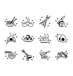 sushi oriental menu icons set line style icon vector image