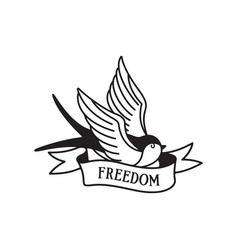 swallow tattoo with wording freedom traditional vector image