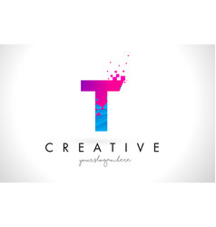 T letter logo with shattered broken blue pink vector
