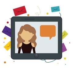 Tablet girl chat message bubble speech bakcground vector