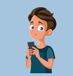 Teenager boy holding smartphone cartoon vector