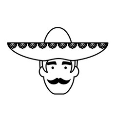 Traditional mexican mariachi head character vector