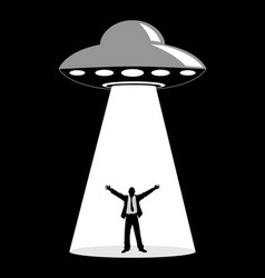 Ufo abduction simple graphic vector