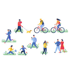 Various people exercising outdoors series vector