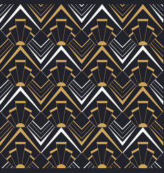 Vintage art deco gold geometric seamless pattern vector