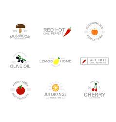 Vintage vegetable and fruit logo emblems labels vector