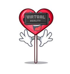 Virtual reality heart lollipop mascot cartoon vector