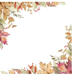 Watercolor card with fall leaves vector