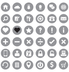 Web icon set on gray circle vector