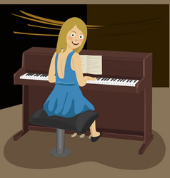 Woman playing the piano in concert hall vector