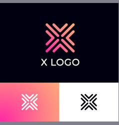 X letter monogram some pink linear elements vector