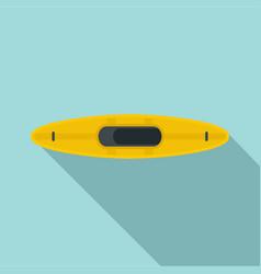Yellow kayak icon flat style vector