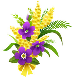 Yellow mimosa and violet flower bouquet on march 8 vector