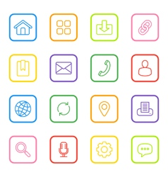 colorful line web icon set rounded rectangle vector image