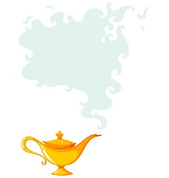 Golden lamp with smoke coming out vector