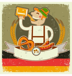 vintage oktoberfest posterl with German man and vector image vector image