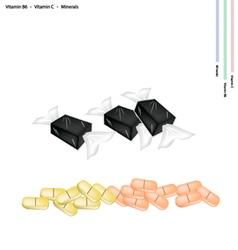 Banana Candy with Vitamin B6 and Vitamin C vector image vector image