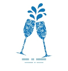 blue white lineart plants toasting wine vector image vector image