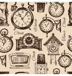 Hand drawn clocks and watches vector image vector image