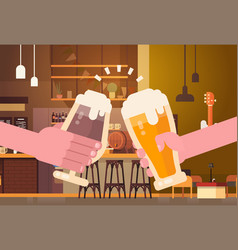 hands clinking beer people in pub or bar vector image