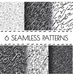 Set of seamless hand drawn background vector