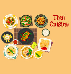 thai cuisine dinner with fruit dessert icon design vector image vector image