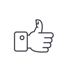 thumbs up line icon sign on vector image vector image