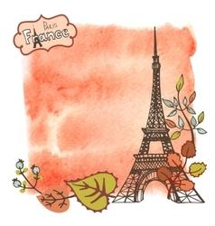 Autumn ParisEiffel towerleaveswatercolor splash vector image vector image
