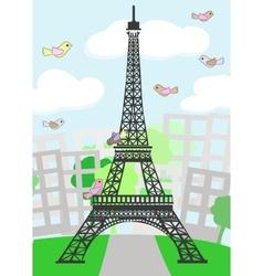 Cartoon Paris with birds vector image vector image