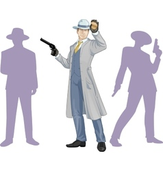 Caucasian police chief and people silhouettes vector image vector image