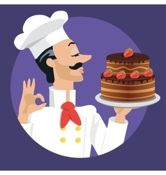 chef with strawberry cake vector image