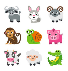funny animal cartoon icon set vector image vector image