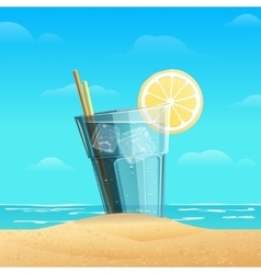 Glass with lemonad on sea background vector image vector image