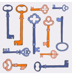 Retro keys background vector image