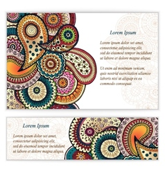 Set of doodle paisley posters for your business vector image