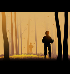 silhouette of soldiers vector image