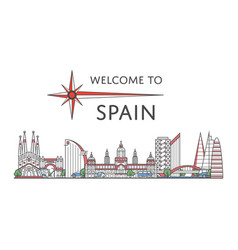 welcome to spain poster in linear style vector image