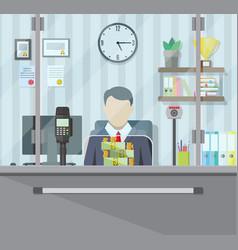 bank teller behind the window vector image
