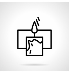 Black simple line candle with frame icon vector image