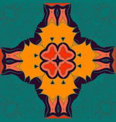 elegant mandala-like pattern on green seamless vector image