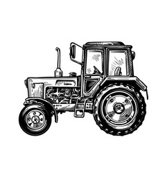 hand-drawn farm truck tractor transport sketch vector image
