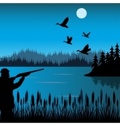 Huntsman on lake vector